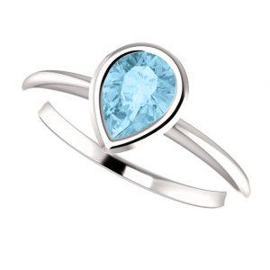 Akvamarínový prsteň Odelia zo 14k bieleho zlata