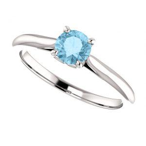 Akvamarínový prsteň Odette zo 14k bieleho zlata