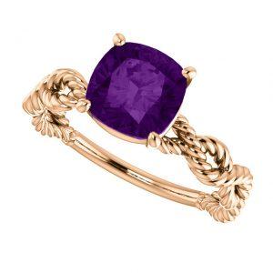 Ametystový prsteň Ophelia zo 14k žltého zlata