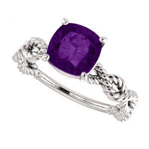 Ametystový prsteň Ophelia zo 14k bieleho zlata