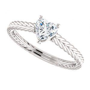 Briliantový prsteň Jubilee zo 14k bieleho zlata srdce