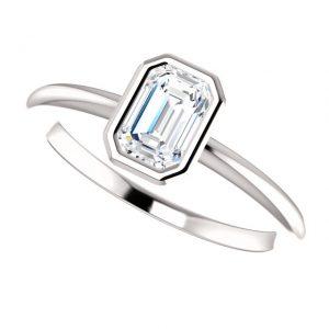Briliantový prsteň Odelia zo 14k bieleho zlata emerald