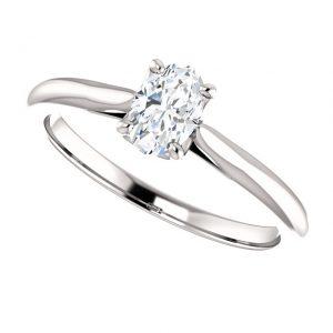 Briliantový prsteň Odette zo 14k bieleho zlata oval