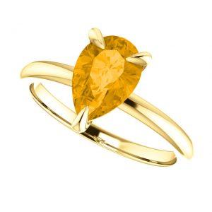 Citrínový prsteň Rowena zo 14k žltého zlata