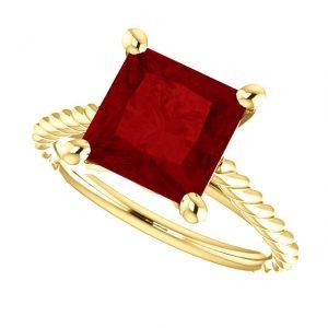 Rubínový prsteň Phaedra zo 14k žltého zlata