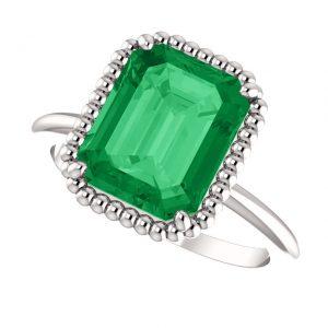 Smaragdový prsteň Cassiopeia zo 14k bieleho zlata