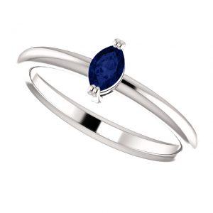 Zafírový prsteň Ianthe zo 14k bieleho zlata
