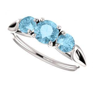 Akvamarínový prsteň Opal zo 14k bieleho zlata