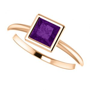 Ametystový prsteň Odelia zo 14k ružového zlata