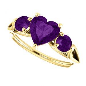 Ametystový prsteň Opal zo 14k žltého zlata