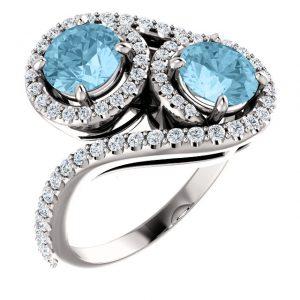 Briliantový prsteň Andromeda zo 14k bieleho zlata s akvamarínom