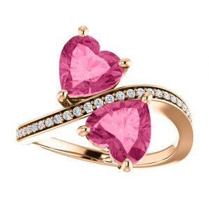 Briliantový prsteň Cassia zo 14k ružového zlata s turmalínom