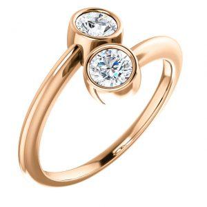 Briliantový prsteň Laelia zo 14k ružového zlata