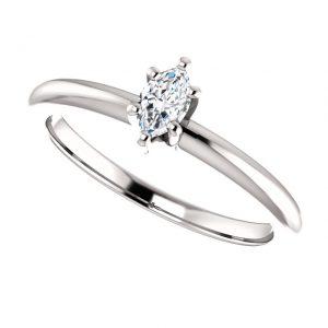 Briliantový prsteň Mirabelle zo 14k bieleho zlata markiz