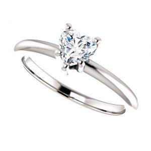 Briliantový prsteň Mirabelle zo 14k bieleho zlata v tvare srdca