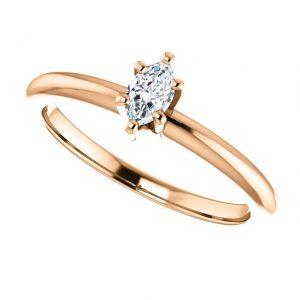 Briliantový prsteň Mirabelle zo 14k ružového zlata markiz
