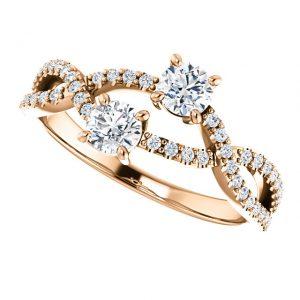 Briliantový prsteň Olympia zo 14k ružového zlata