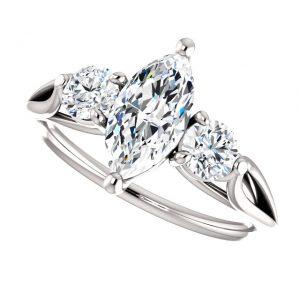 Briliantový prsteň Opal zo 14k bieleho zlata markiz