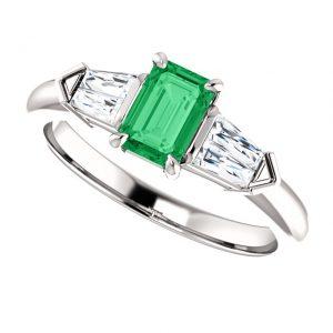 Briliantový prsteň so smaragdom Cressida zo 14k bieleho zlata