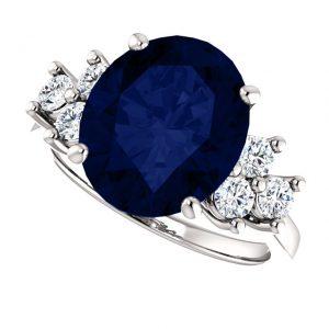 Briliantový prsteň so zafírom Xanthe zo 14k bieleho zlata
