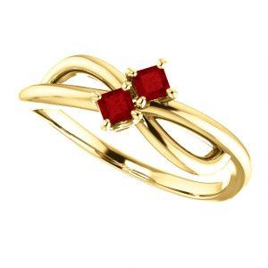 Rubínový prsteň Odetta zo 14k žltého zlata