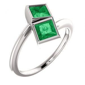 Smaragdový prsteň Laelia zo 14k bieleho zlata