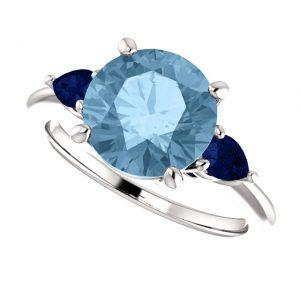 Topázovo-zafírový prsteň Orla zo 14k bieleho zlata