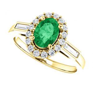 Briliantový prsteň Amadea zo 14k žltého zlata so smaragdom