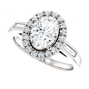 Briliantový prsteň Amadea zo 14k bieleho zlata oval