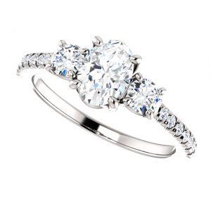 Briliantový prsteň Ariadne zo 14k bieleho zlata oval