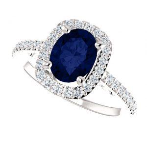 Briliantový prsteň Cosette zo 14k bieleho zlata so zafírom