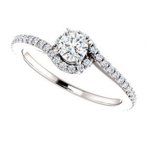 Briliantový prsteň Delta zo 14k bieleho zlata