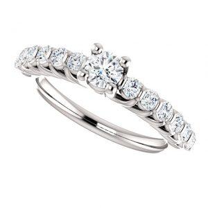 Briliantový prsteň Eulalie zo 14k bieleho zlata