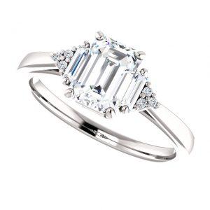 Briliantový prsteň Henrietta zo 14k bieleho zlata s umelým diamantom