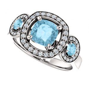 Briliantový prsteň Isolde zo 14k bieleho zlata s akvamarínom
