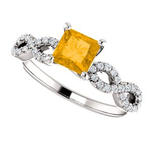 Briliantový prsteň Lark zo 14k bieleho zlata s citrínom