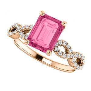 Briliantový prsteň Lark zo 14k ružového zlata s turmalínom