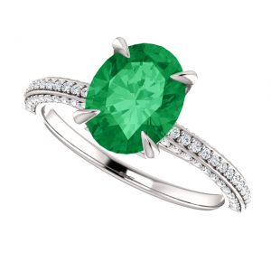 Briliantový prsteň Lysander zo 14k bieleho zlata so smaragdom