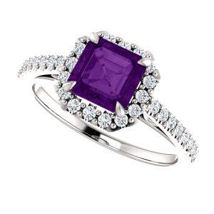 Briliantový prsteň Moira zo 14k bieleho zlata s ametystom