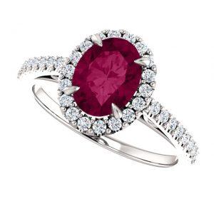 Briliantový prsteň Moira zo 14k bieleho zlata s granátom