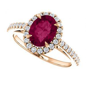 Briliantový prsteň Moira zo 14k ružového zlata s granátom