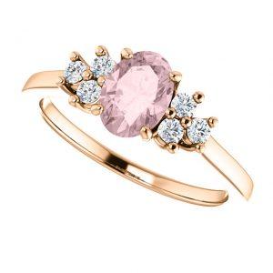 Briliantový prsteň Xanthe zo 14k ružového zlata s morganitom