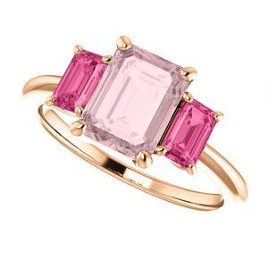 Morganitový prsteň Lavender zo 14k ružového zlata s turmalínom
