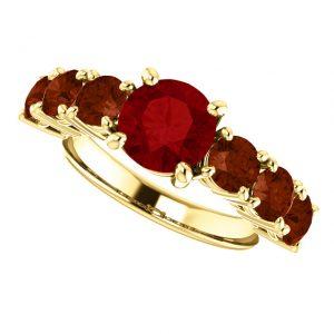 Rubínový prsteň Orpheus zo 14k žltého zlata s granátom