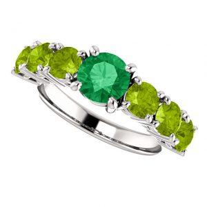 Smaragdový prsteň Orpheus zo 14k bieleho zlata s peridotom