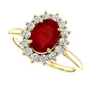 Briliantový prsteň Aurelia zo 14k žltého zlata s rubínom