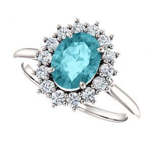 Briliantový prsteň Aurelia zo 14k bieleho zlata s modrým zirkónom