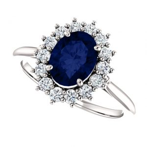 Briliantový prsteň Aurelia zo 14k bieleho zlata so zafírom