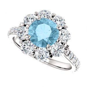 Briliantový prsteň Elodie zo 14k bieleho zlata s akvamarínom
