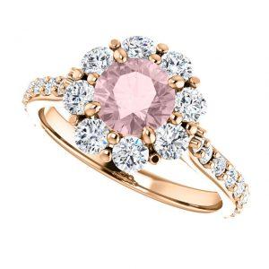 Briliantový prsteň Elodie zo 14k ružového zlata s morganitom
